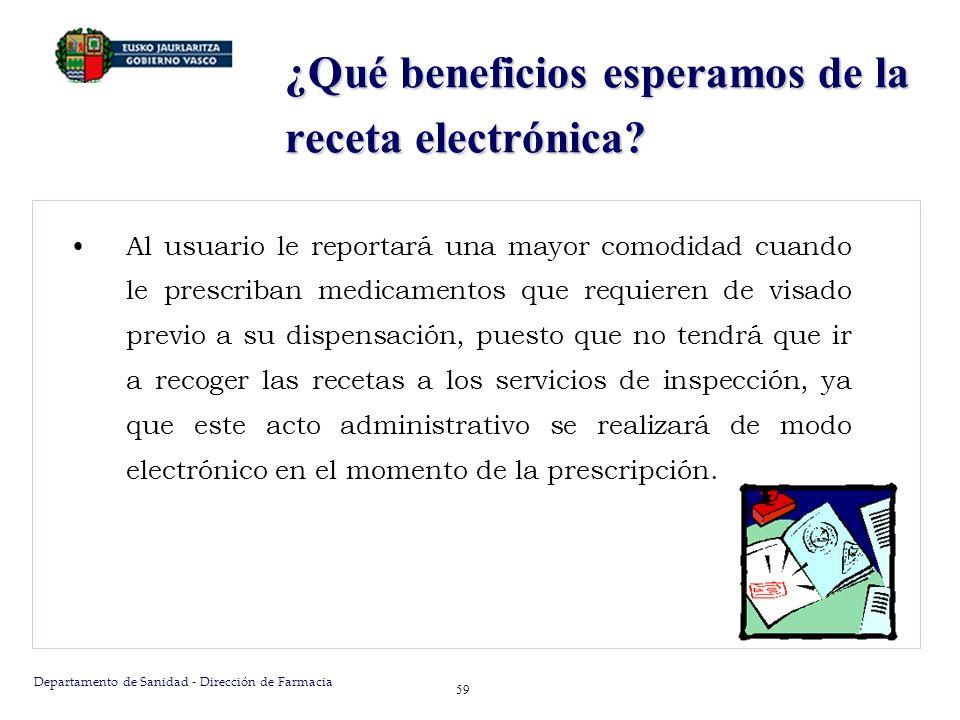 Departamento de Sanidad - Dirección de Farmacia 59 ¿Qué beneficios esperamos de la receta electrónica? Al usuario le reportará una mayor comodidad cua