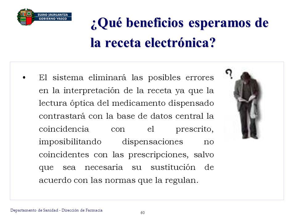 Departamento de Sanidad - Dirección de Farmacia 60 ¿Qué beneficios esperamos de la receta electrónica? El sistema eliminará las posibles errores en la