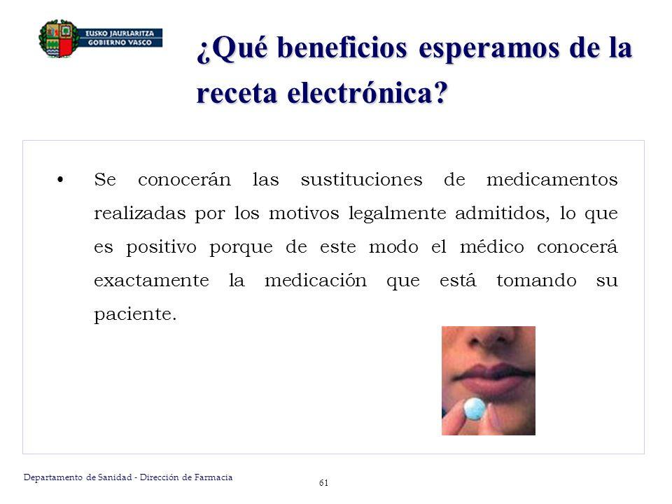 Departamento de Sanidad - Dirección de Farmacia 61 ¿Qué beneficios esperamos de la receta electrónica? Se conocerán las sustituciones de medicamentos