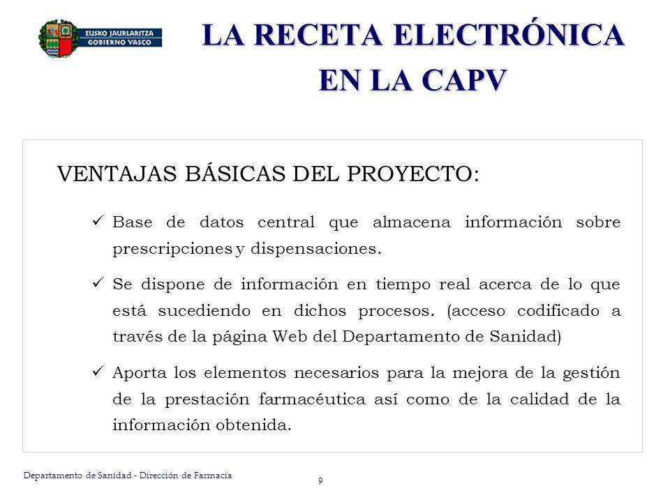 Departamento de Sanidad - Dirección de Farmacia 9 LA RECETA ELECTRÓNICA EN LA CAPV VENTAJAS BÁSICAS DEL PROYECTO: Base de datos central que almacena i