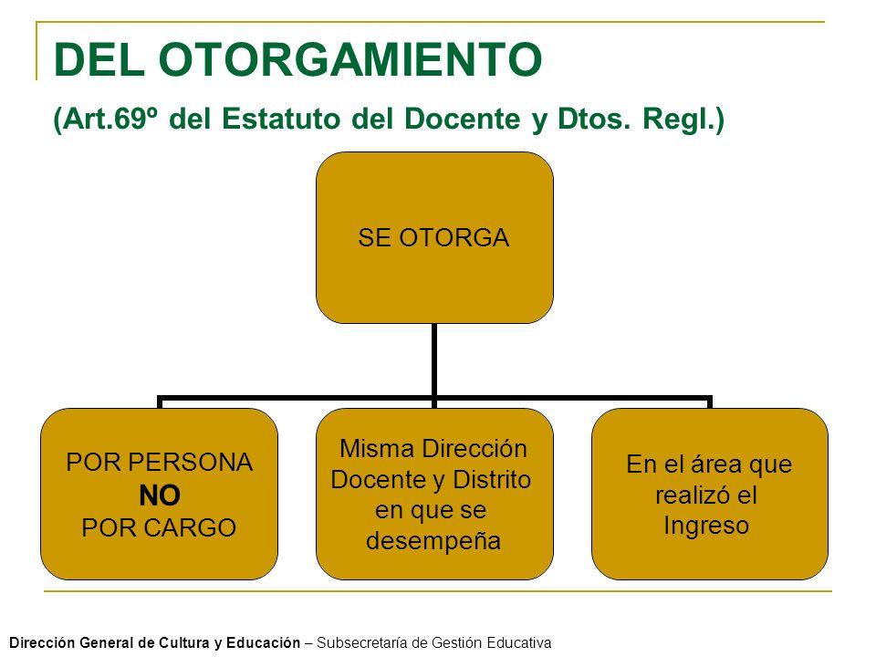 DEL OTORGAMIENTO (Art.69º del Estatuto del Docente y Dtos.