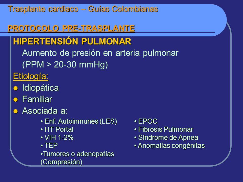HIPERTENSIÓN PULMONAR Aumento de presión en arteria pulmonar (PPM > 20-30 mmHg)Etiología: Idiopática Idiopática Familiar Familiar Asociada a: Asociada a: Trasplante cardiaco – Guías Colombianas PROTOCOLO PRE-TRASPLANTE Enf.