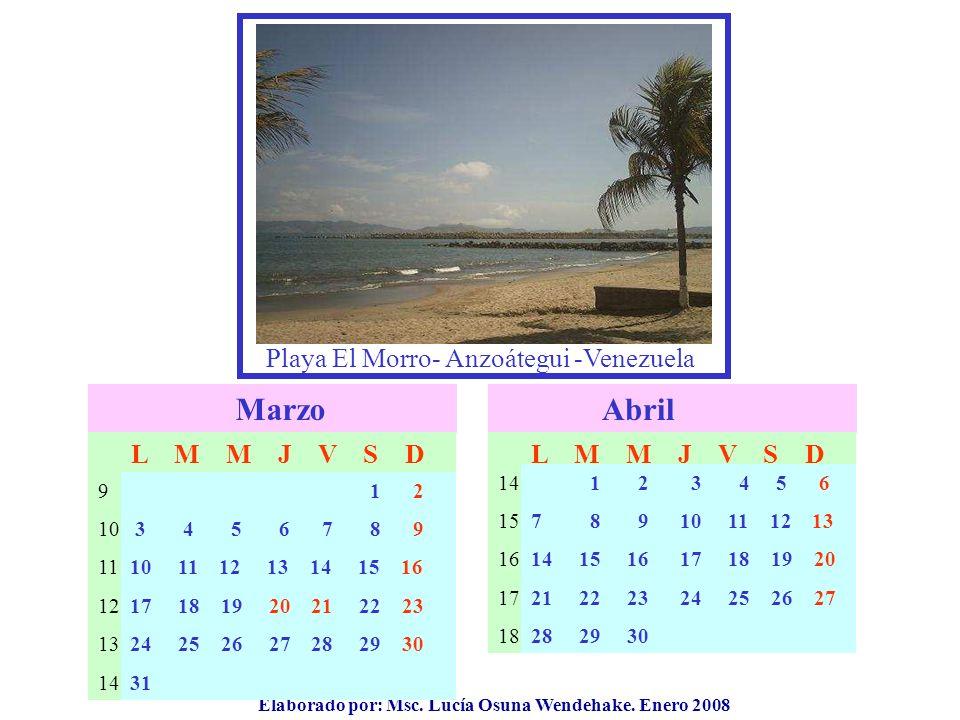 Elaborado por: Msc. Lucía Osuna Wendehake. Enero 2008 Marzo 9 10 11 12 13 14 L M M J V S D Abril 14 15 16 17 18 L M M J V S D 1 2 3 4 5 6 7 8 9 1011 1