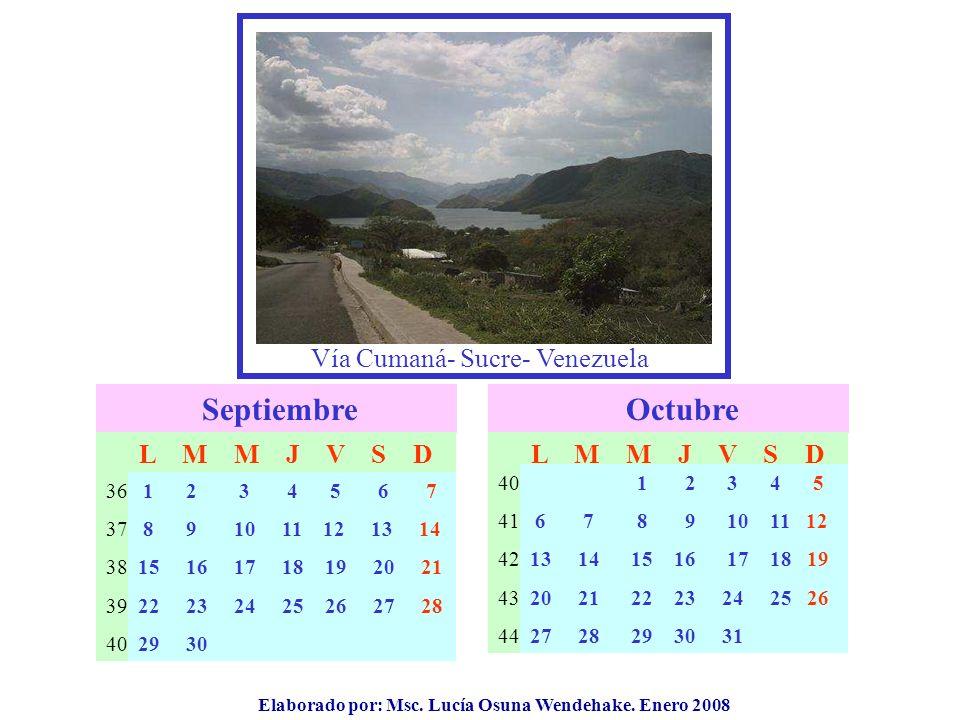Elaborado por: Msc. Lucía Osuna Wendehake. Enero 2008 Vía Cumaná- Sucre- Venezuela Septiembre 36 37 38 39 40 L M M J V S D Octubre 40 41 42 43 44 L M