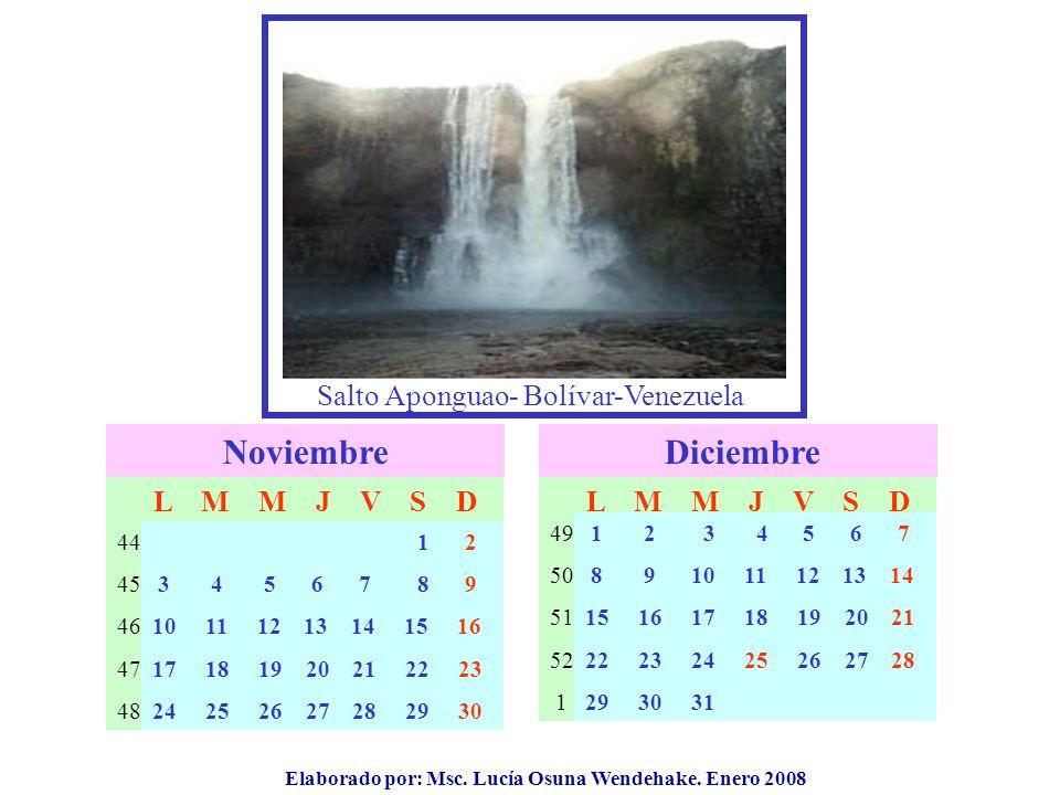Elaborado por: Msc. Lucía Osuna Wendehake. Enero 2008 Salto Aponguao- Bolívar-Venezuela Noviembre 44 45 46 47 48 L M M J V S D Diciembre 49 50 51 52 1