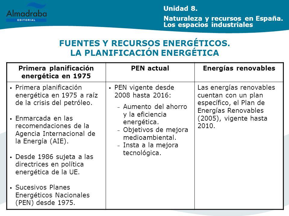FUENTES Y RECURSOS ENERGÉTICOS.LA PLANIFICACIÓN ENERGÉTICA Unidad 8.