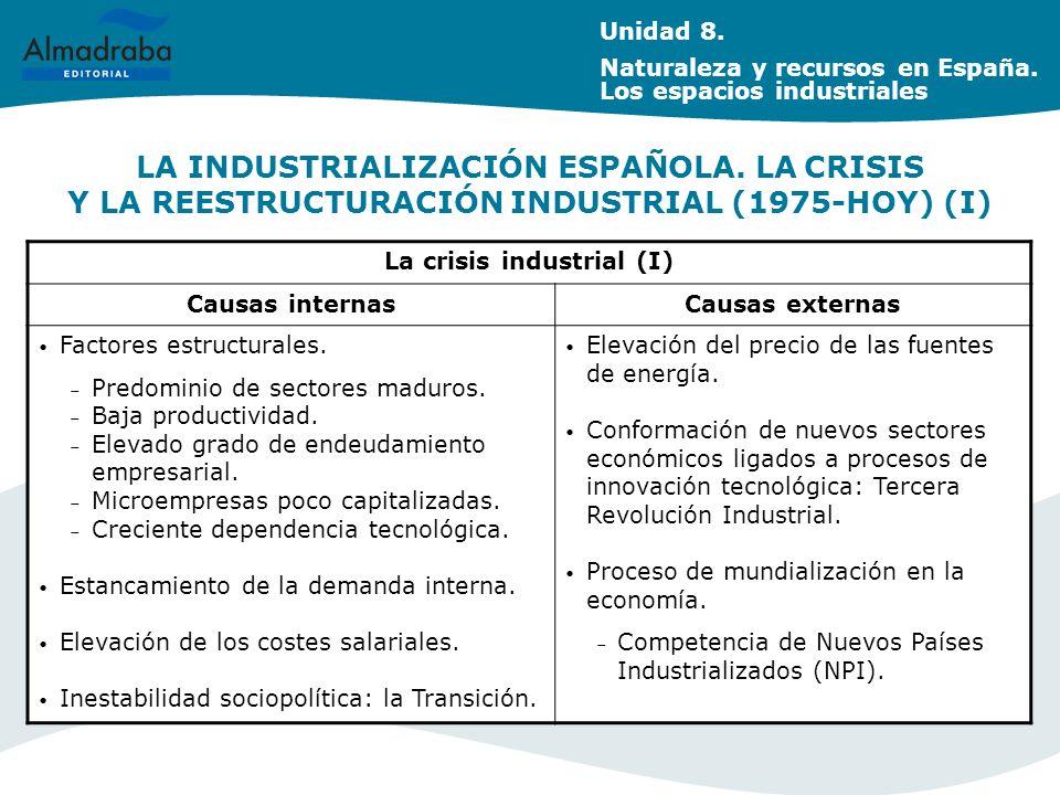 LA INDUSTRIALIZACIÓN ESPAÑOLA.LA CRISIS Y LA REESTRUCTURACIÓN INDUSTRIAL (1975-HOY) (I) Unidad 8.