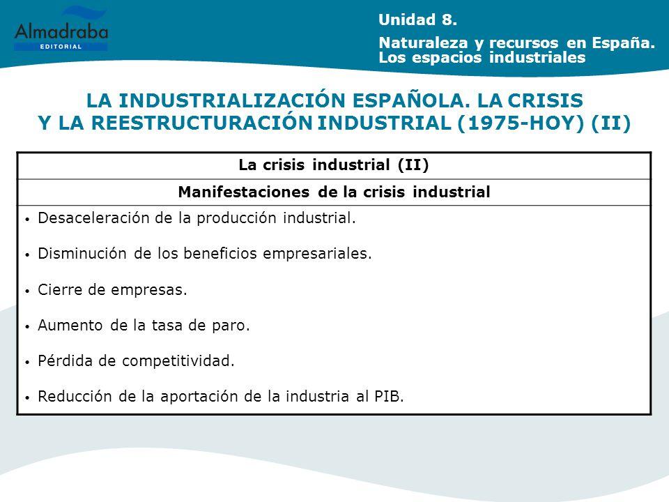 LA INDUSTRIALIZACIÓN ESPAÑOLA.LA CRISIS Y LA REESTRUCTURACIÓN INDUSTRIAL (1975-HOY) (II) Unidad 8.