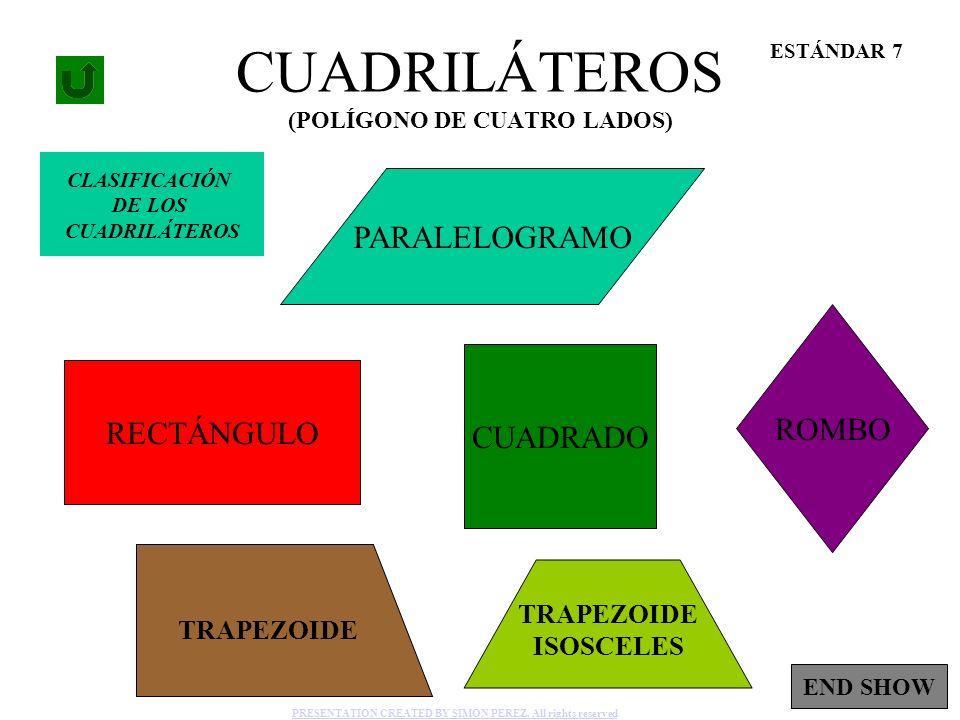 1 CUADRILÁTEROS (POLÍGONO DE CUATRO LADOS) RECTÁNGULO PARALELOGRAMO ROMBO CUADRADO ESTÁNDAR 7 TRAPEZOIDE TRAPEZOIDE ISOSCELES CLASIFICACIÓN DE LOS CUA