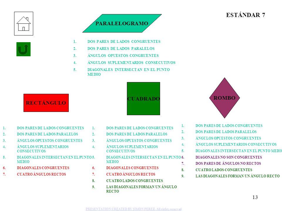 13 PARALELOGRAMO 1.DOS PARES DE LADOS CONGRUENTES 2.DOS PARES DE LADOS PARALELOS 3.ÁNGULOS OPUESTOS CONGRUENTES 4.ÁNGULOS SUPLEMENTARIOS CONSECUTIVOS