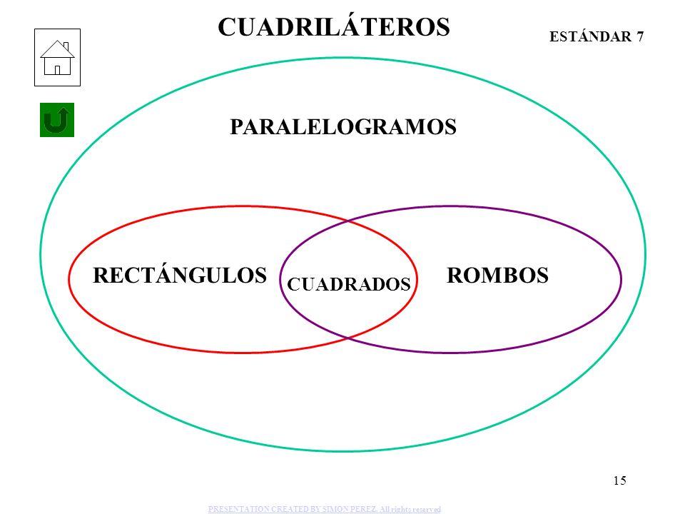 15 CUADRILÁTEROS PARALELOGRAMOS RECTÁNGULOS CUADRADOS ROMBOS ESTÁNDAR 7 PRESENTATION CREATED BY SIMON PEREZ. All rights reserved