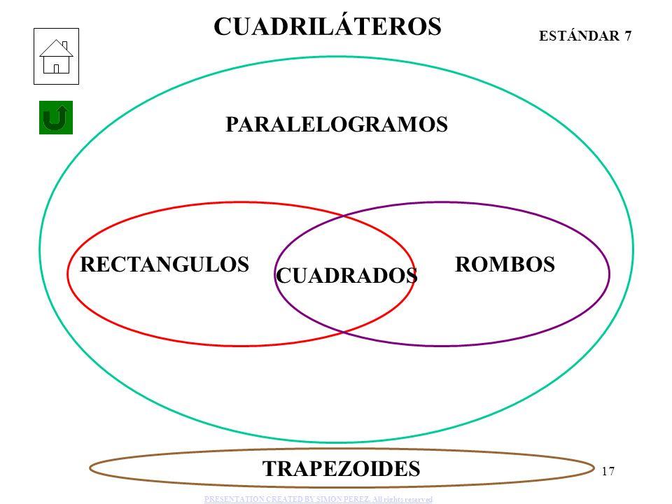 17 CUADRILÁTEROS PARALELOGRAMOS RECTANGULOS CUADRADOS ROMBOS TRAPEZOIDES ESTÁNDAR 7 PRESENTATION CREATED BY SIMON PEREZ. All rights reserved