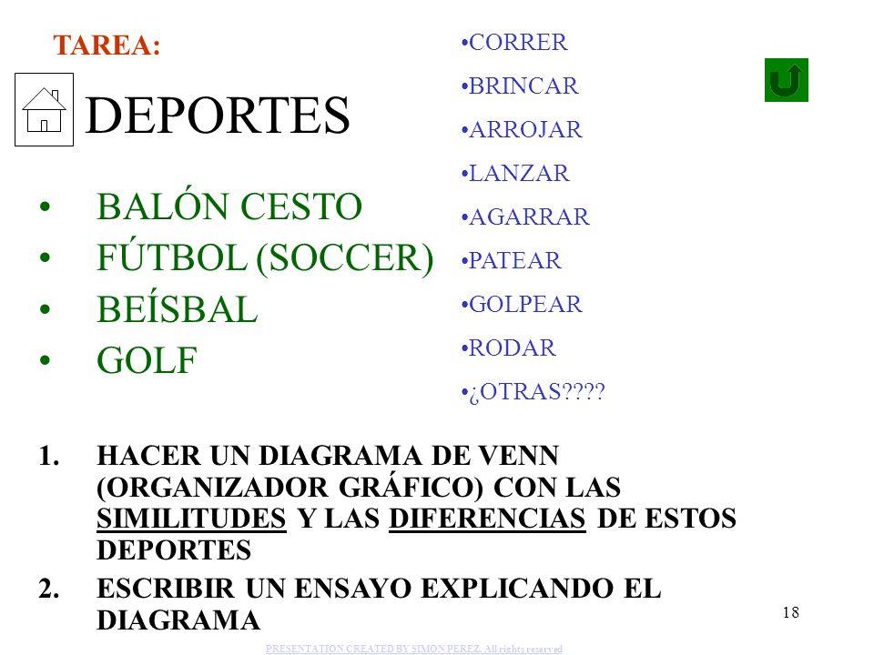 18 DEPORTES BALÓN CESTO FÚTBOL (SOCCER) BEÍSBAL GOLF 1.HACER UN DIAGRAMA DE VENN (ORGANIZADOR GRÁFICO) CON LAS SIMILITUDES Y LAS DIFERENCIAS DE ESTOS