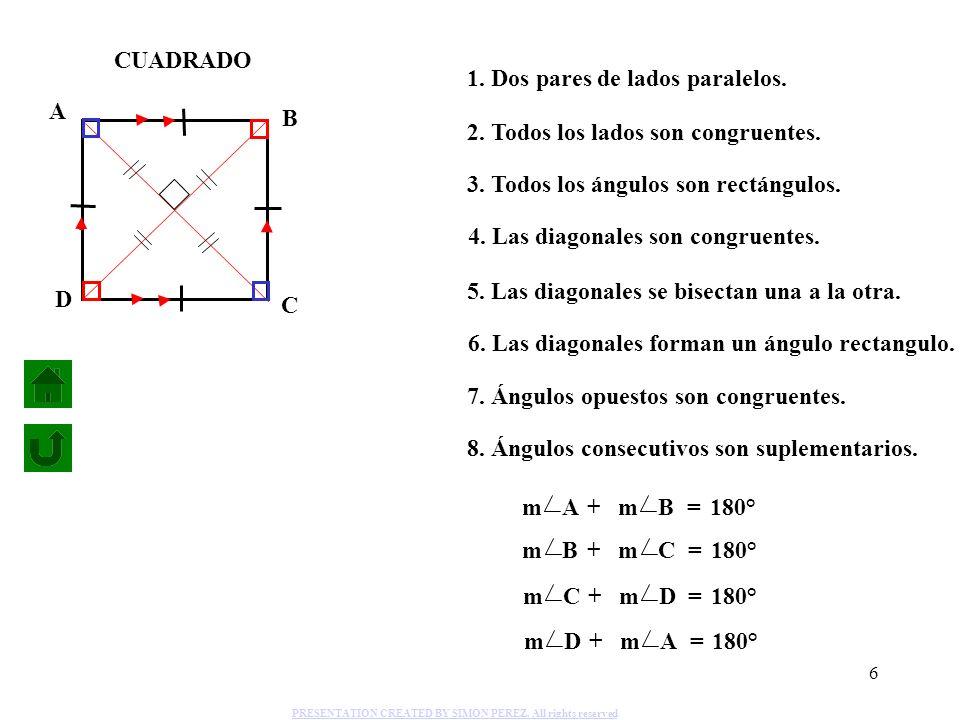 6 1. Dos pares de lados paralelos. 2. Todos los lados son congruentes. 5. Las diagonales se bisectan una a la otra. 7. Ángulos opuestos son congruente