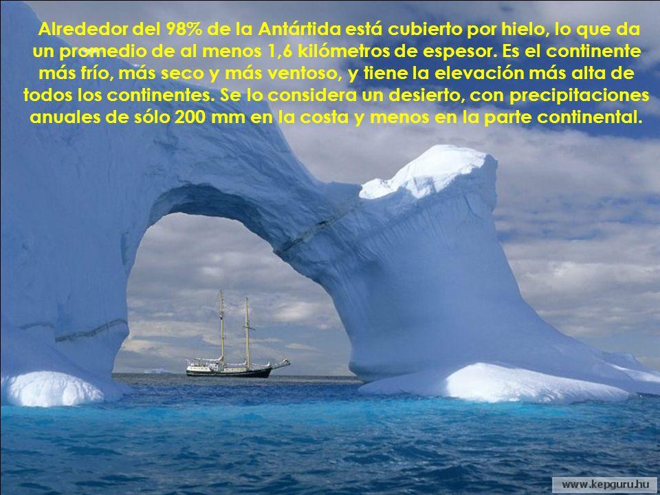 Alrededor del 98% de la Antártida está cubierto por hielo, lo que da un promedio de al menos 1,6 kilómetros de espesor.