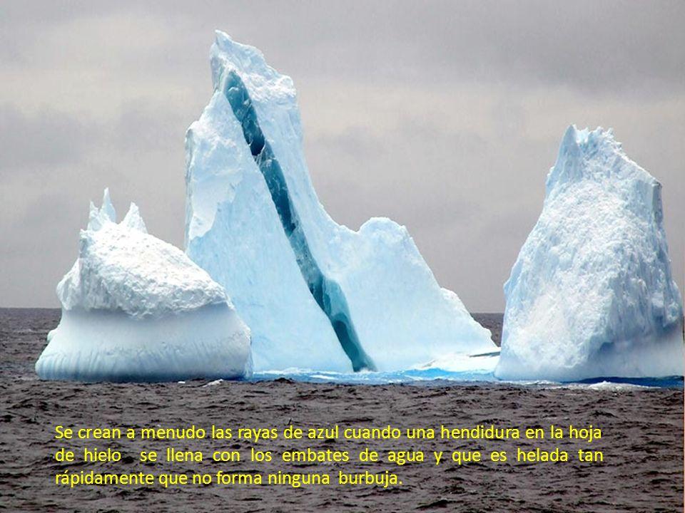 ¡Los Icebergs rayados! Ellos parecen hojas gigantescas de caramelo rayado. Los icebergs con las tiras coloreadas. La nueva creación maravillosa de Dio