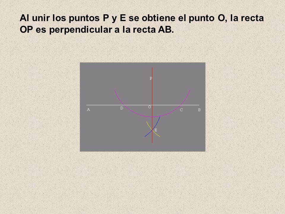 Al unir los puntos P y E se obtiene el punto O, la recta OP es perpendicular a la recta AB.