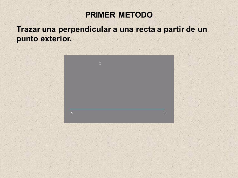 PRIMER METODO Trazar una perpendicular a una recta a partir de un punto exterior.