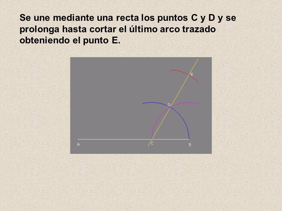 Se une mediante una recta los puntos C y D y se prolonga hasta cortar el último arco trazado obteniendo el punto E.