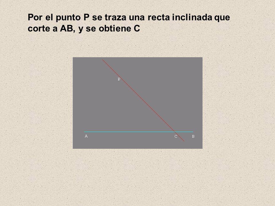 Por el punto P se traza una recta inclinada que corte a AB, y se obtiene C