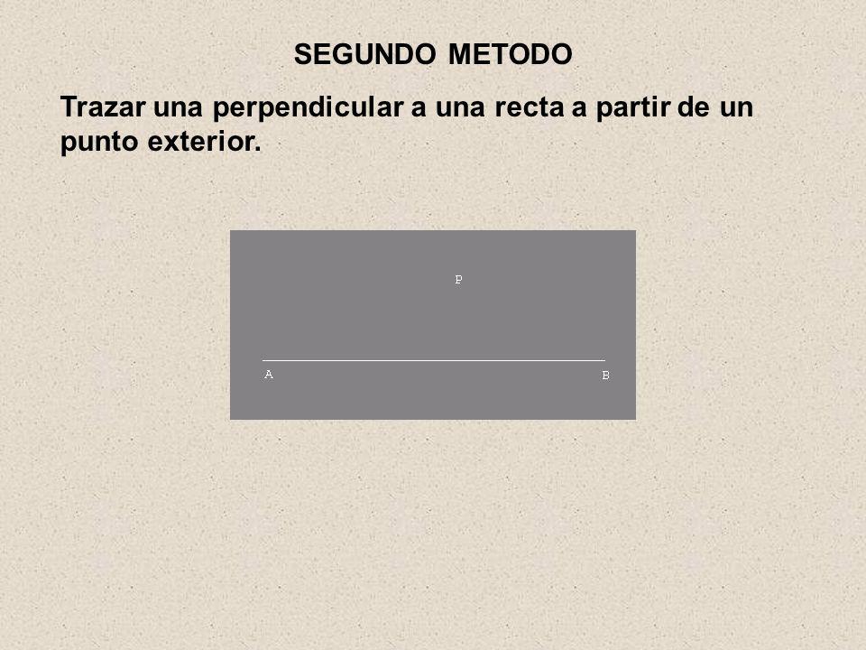 SEGUNDO METODO Trazar una perpendicular a una recta a partir de un punto exterior.