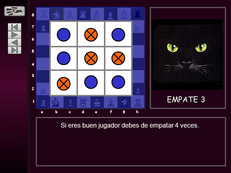 8 7 6 5 4 3 2 1 abcdef g h EMPATE 3 Si eres buen jugador debes de empatar 4 veces.