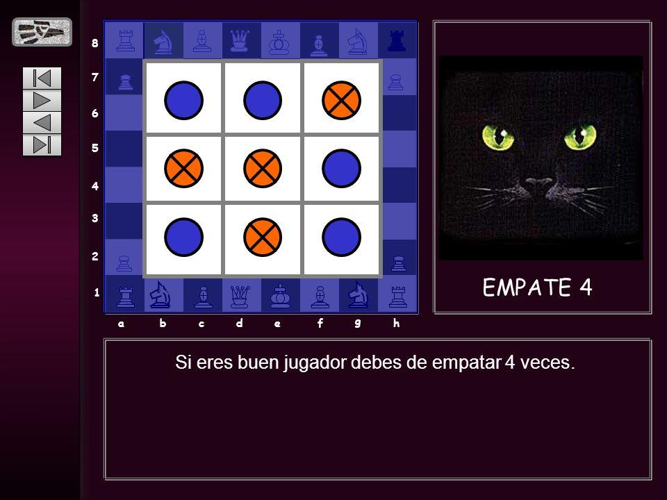 8 7 6 5 4 3 2 1 abcdef g h EMPATE 4 Si eres buen jugador debes de empatar 4 veces.