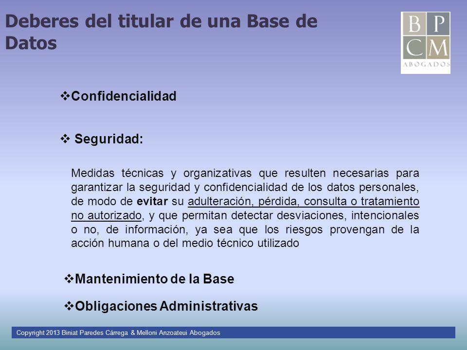 Deberes del titular de una Base de Datos Seguridad: Medidas técnicas y organizativas que resulten necesarias para garantizar la seguridad y confidenci