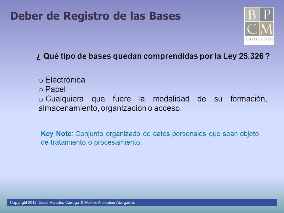 Deber de Registro de las Bases Copyright 2013. Biniat Paredes Cárrega & Melloni Anzoateui Abogados o Electrónica o Papel o Cualquiera que fuere la mod