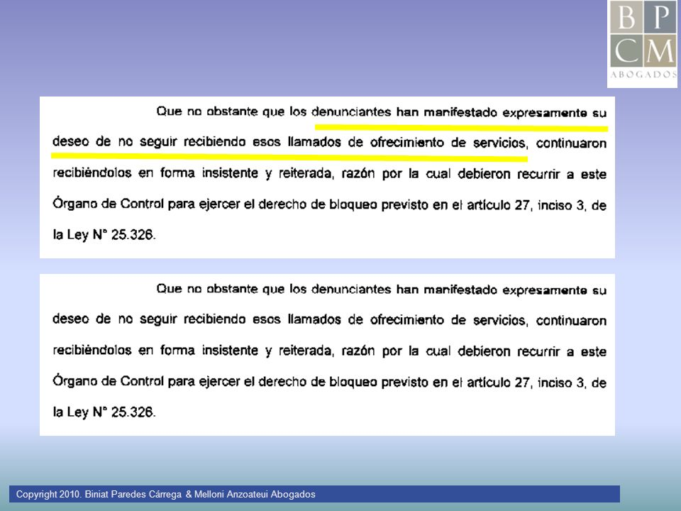 Copyright 2010. Biniat Paredes Cárrega & Melloni Anzoateui Abogados
