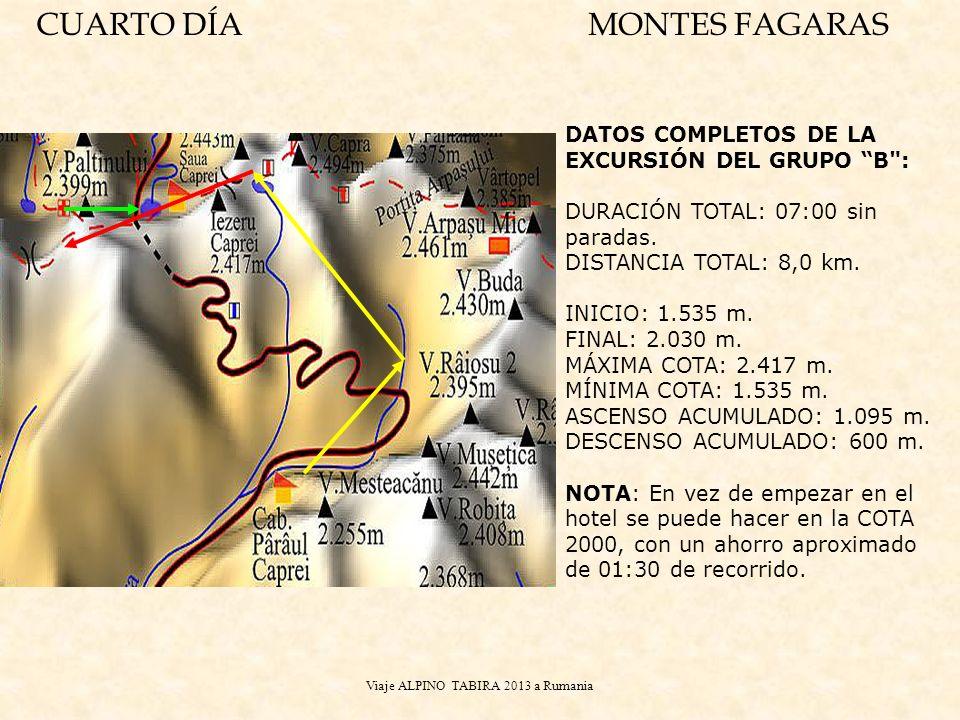 Viaje ALPINO TABIRA 2013 a Rumania DATOS COMPLETOS DE LA EXCURSIÓN DEL GRUPO B : DURACIÓN TOTAL: 07:00 sin paradas.