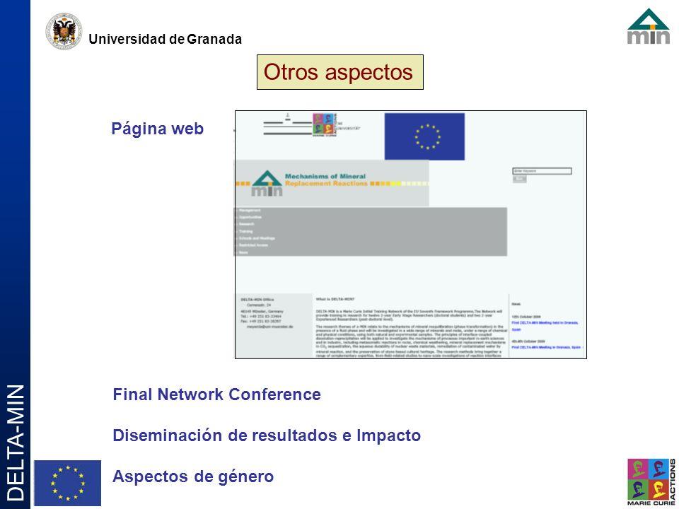 Universidad de Granada DELTA-MIN Otros aspectos Página web Final Network Conference Diseminación de resultados e Impacto Aspectos de género