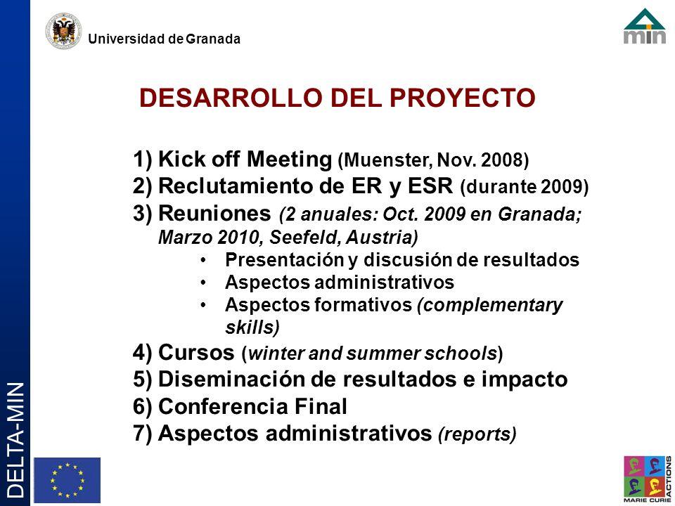 Universidad de Granada DELTA-MIN DESARROLLO DEL PROYECTO 1)Kick off Meeting (Muenster, Nov.