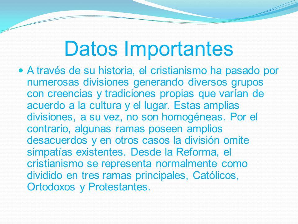 Datos Importantes A través de su historia, el cristianismo ha pasado por numerosas divisiones generando diversos grupos con creencias y tradiciones propias que varían de acuerdo a la cultura y el lugar.