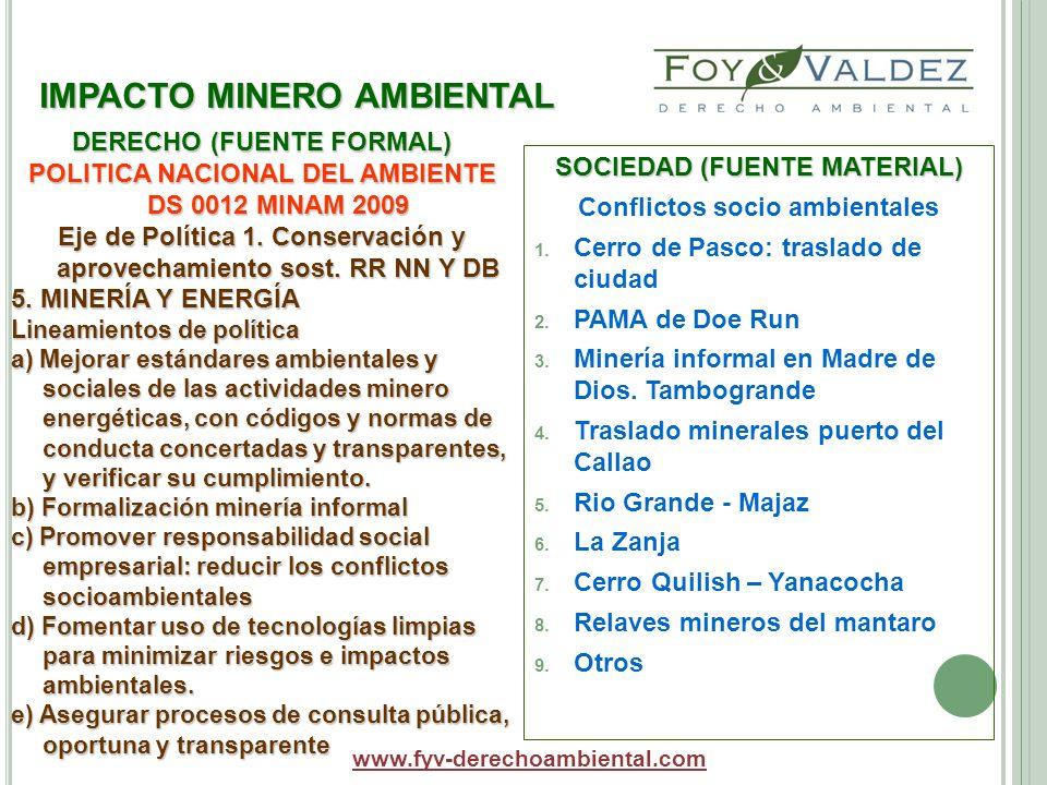 IMPACTO MINERO AMBIENTAL SOCIEDAD (FUENTE MATERIAL) Conflictos socio ambientales 1. Cerro de Pasco: traslado de ciudad 2. PAMA de Doe Run 3. Minería i