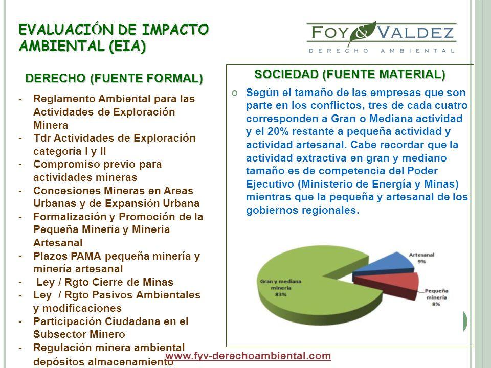 EVALUACI Ó N DE IMPACTO AMBIENTAL (EIA) SOCIEDAD (FUENTE MATERIAL) Según el tamaño de las empresas que son parte en los conflictos, tres de cada cuatr
