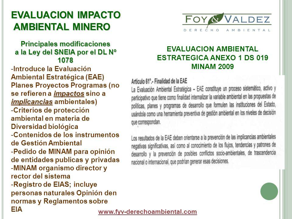 EVALUACION IMPACTO AMBIENTAL MINERO www.fyv-derechoambiental.com Principales modificaciones a la Ley del SNEIA por el DL Nº 1078 impactos implicancias