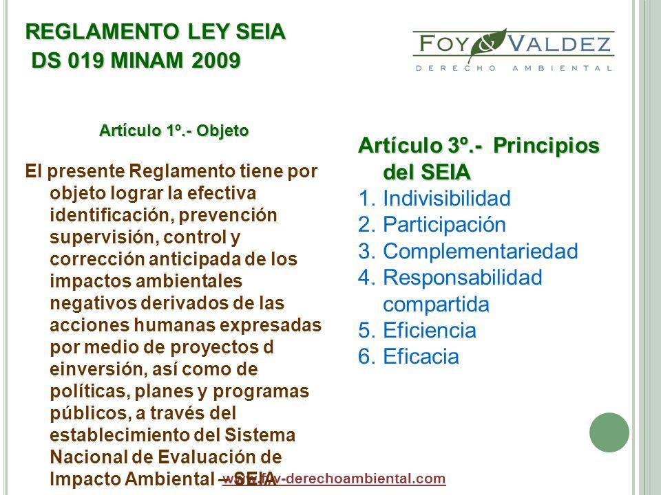 REGLAMENTO LEY SEIA DS 019 MINAM 2009 www.fyv-derechoambiental.com Artículo 1º.- Objeto El presente Reglamento tiene por objeto lograr la efectiva ide