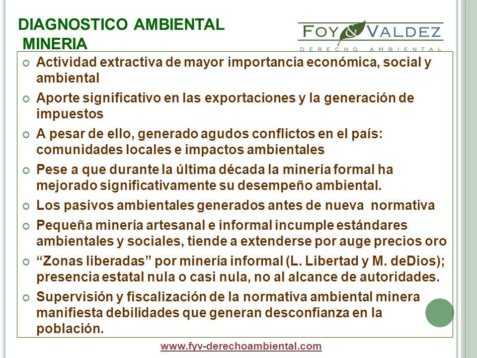 DIAGNOSTICO AMBIENTAL MINERIA Actividad extractiva de mayor importancia económica, social y ambiental Aporte significativo en las exportaciones y la g