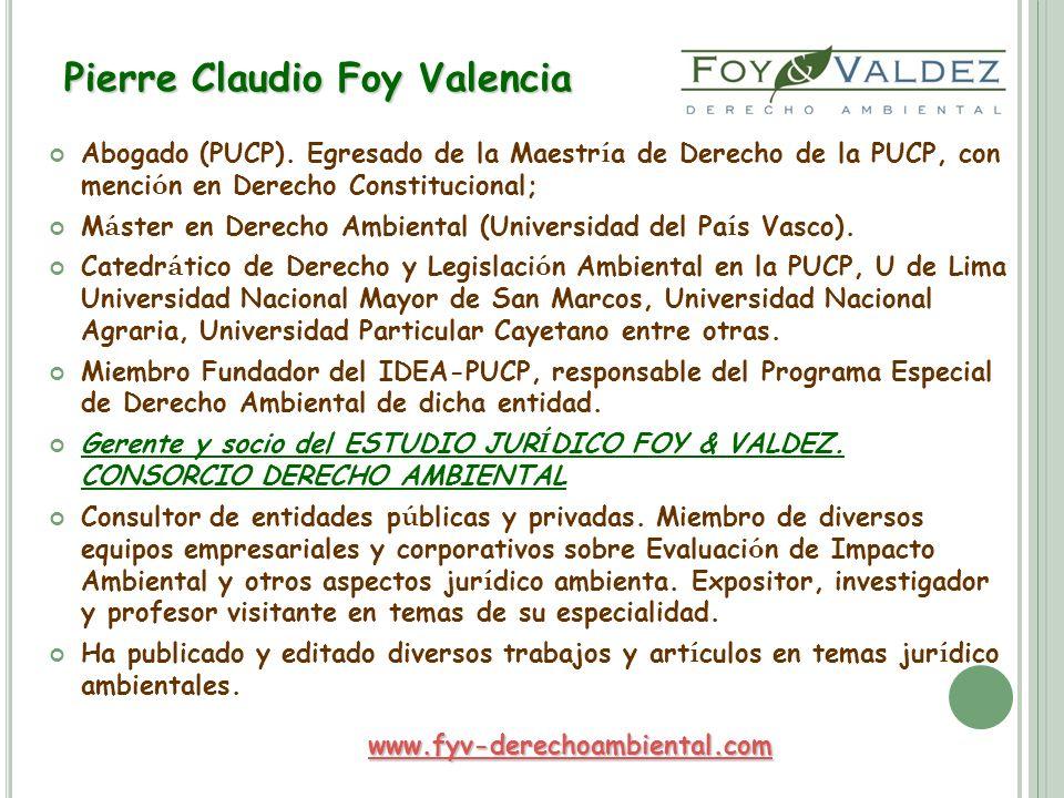 Pierre Claudio Foy Valencia Abogado (PUCP). Egresado de la Maestr í a de Derecho de la PUCP, con menci ó n en Derecho Constitucional; M á ster en Dere