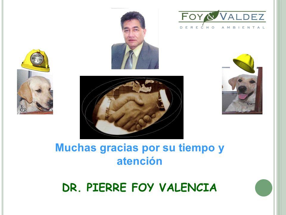 Muchas gracias por su tiempo y atención DR. PIERRE FOY VALENCIA