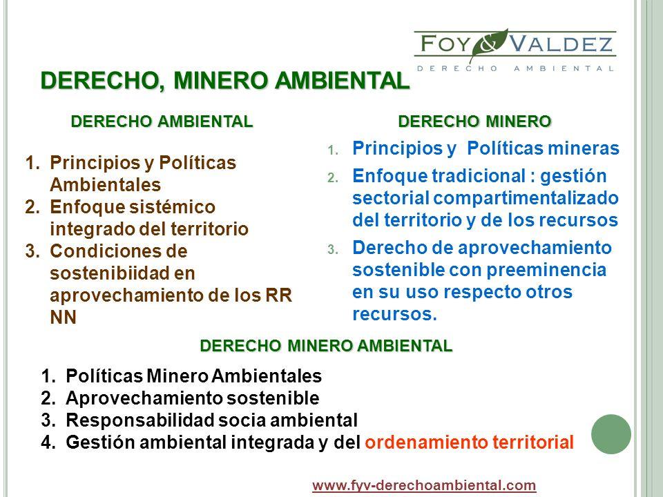 DERECHO, MINERO AMBIENTAL DERECHO MINERO 1. Principios y Políticas mineras 2. Enfoque tradicional : gestión sectorial compartimentalizado del territor