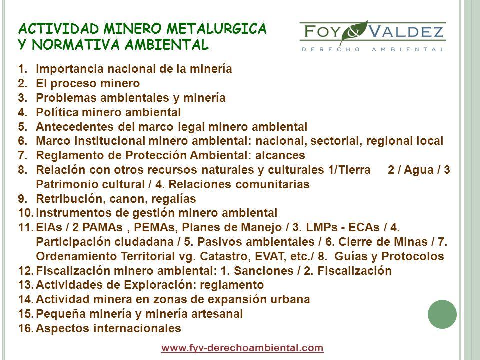 EVALUACION IMPACTO MINERO AMBIENTAL www.fyv-derechoambiental.com Aspectos centrales relativos a EIA tienen que ver con cuestiones como: -la reglamentación y normativa fragmentada sobre las EIAs; -los criterios político-ambientales generales y sectoriales; -Proceso de adecuación -Categorizaciçión de los impactos -la autoridad competente; -los procedimientos administrativos; -los criterios para la fomulación de estudios, revisión, etc.; -la participación e información ciudadanas; -los términos de referencia y guías; -la normativa sobre entidades que realizan los EIAs: inscripción, requisitos, impedimentos, etc.