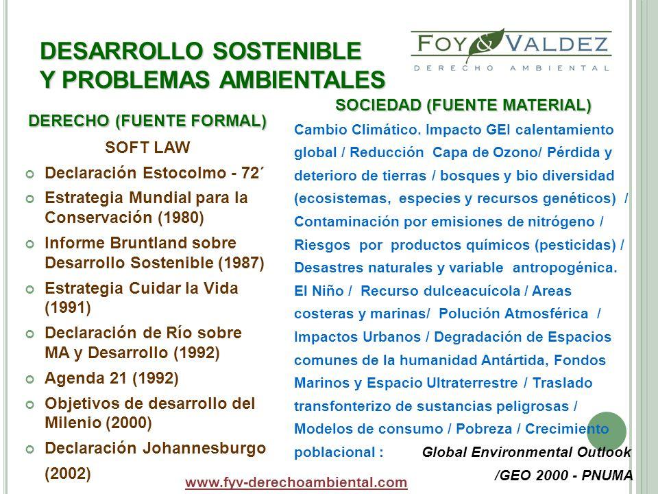 DESARROLLO SOSTENIBLE Y PROBLEMAS AMBIENTALES SOCIEDAD (FUENTE MATERIAL) Cambio Climático. Impacto GEI calentamiento global / Reducción Capa de Ozono/