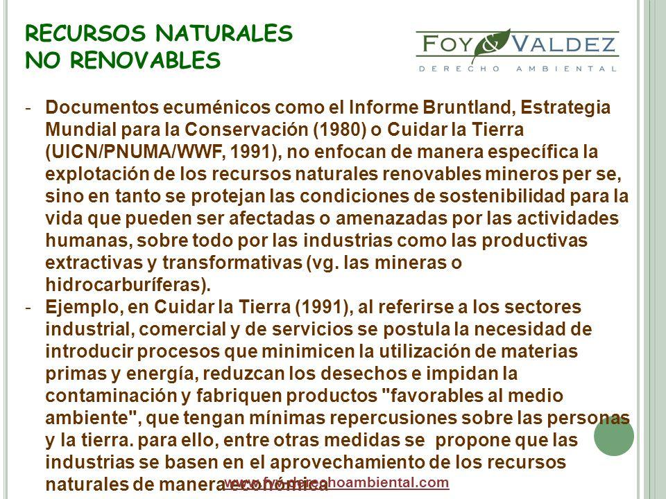 RECURSOS NATURALES NO RENOVABLES La tradicional clasificación pese a los modernos cuestionamientos técnicos y de orden práctico, sin embargo, se mantiene en muchos criterios políticos y jurídico ambientales.