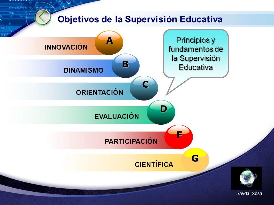 LOGO Sayda Sósa Objetivos de la Supervisión Educativa D B C A INNOVACIÓN DINAMISMO ORIENTACIÓN EVALUACIÓN Principios y fundamentos de la Supervisión Educativa G F PARTICIPACIÓN CIENTÍFICA