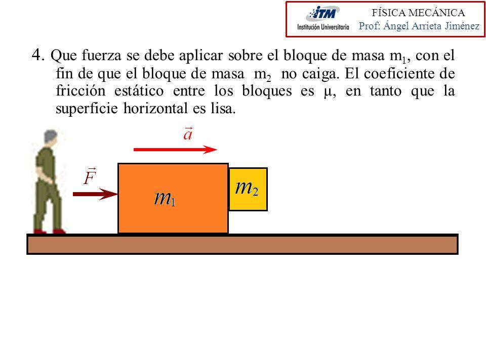 4. Que fuerza se debe aplicar sobre el bloque de masa m 1, con el fin de que el bloque de masa m 2 no caiga. El coeficiente de fricción estático entre