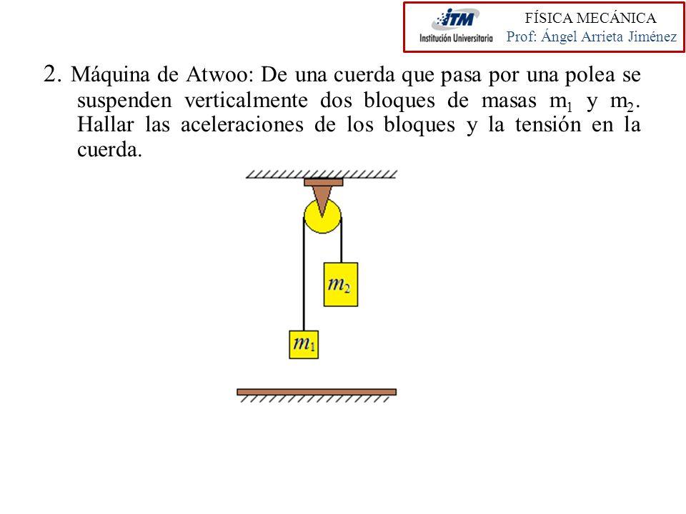 2. Máquina de Atwoo: De una cuerda que pasa por una polea se suspenden verticalmente dos bloques de masas m 1 y m 2. Hallar las aceleraciones de los b
