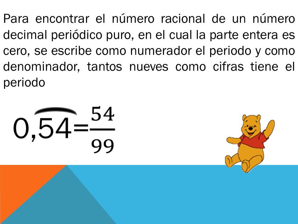 Para encontrar el número racional de un número decimal periódico puro, en el cual la parte entera es cero, se escribe como numerador el periodo y como