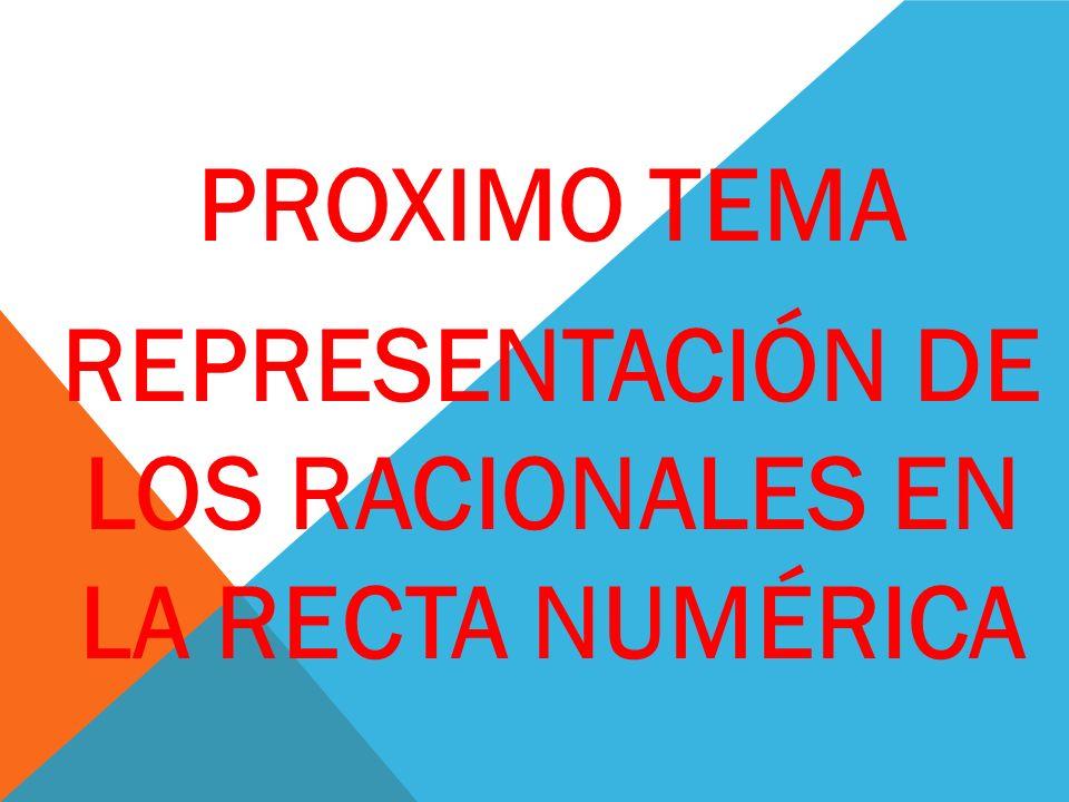 PROXIMO TEMA REPRESENTACIÓN DE LOS RACIONALES EN LA RECTA NUMÉRICA